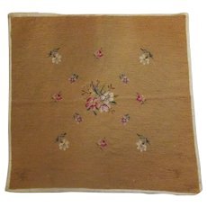"Vintage Floral Needlepoint – 21"" Square Needle Work – Flowers on Gold Ground"