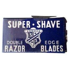 Vintage Razor Blades Box - Super-Shave Blade Box with Derby Blue Steel Blades