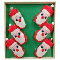 Vintage Christmas Santa Claus Coaster Socks Set with Original Box