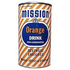 Vintage Tin Advertising Bank - 1954 Mission Orange Soda Can Bank
