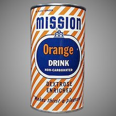 Vintage Tin Advertising Bank - 1954 Mission Orange Soda Can Bank
