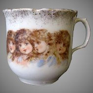 Vintage Porcelain Cup with Four Adorable Victorian Girls