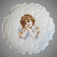 Vintage Porcelain Plate with an Adorable Little Victorian Girl