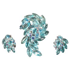 Vintage Costume Jewelry Brooch with Matching Earrings – Aquamarine Rhinestones & Marquis