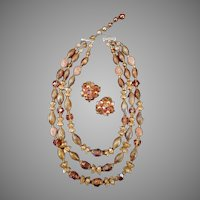 Vintage Triple Strand Bead Necklace & Earrings – Warm Autumn Colors Costume Jewelry