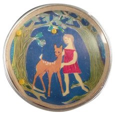 Vintage Dexterity Puzzle Mirror - Little Girl with Deer - Western Germany