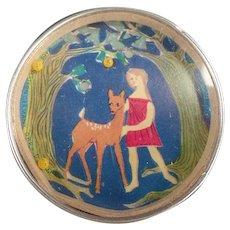 Vintage Dexterity Puzzle Mirror - Little Girl with Deer - Western Germany