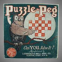 Vintage Puzzle Peg Game Toy Box with Nice Owl Graphics