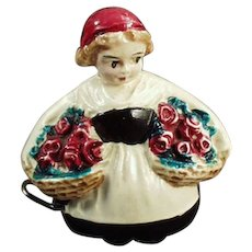 Vintage Cellulloid Tape Measure - Little Girl with Flower Baskets