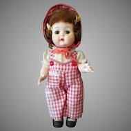 "Adorable Vintage 10"" Walker Doll in Darling Gingham Outfit"