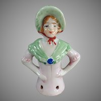 Vintage Porcelain Half Doll - Young Lady with Bonnet - Pincushion Doll