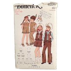 Vintage Butterick #6296 Pattern - Cowboys & Indians Children's Costumes