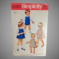 Vintage #8565 Simplicity Pattern - Toddler Suit, Dress or Jumper & Blouses - 1969