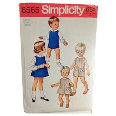 Vintage #8565 Simplicity Pattern - Toddler - Suit, Dress or Jumper & Blouses - 1969