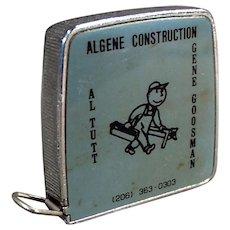 Vintage 1/4 & 1/8 Scale Steel Tape Measure - Algene Construction Advertising