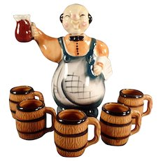 Vintage Liquor Decanter - Bartender with Five Matching Mugs