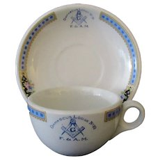 Vintage Masonic Restaurant China – Damascus #10 Masonic Lodge Cup & Saucer