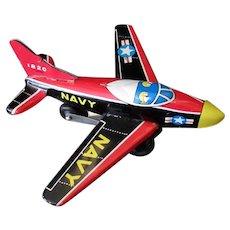 Vintage Tin Friction Navy Airplane - 1950's Japanese Tin Toy