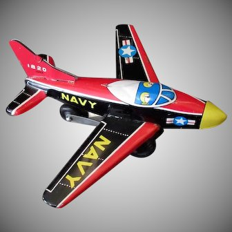 Vintage Tin Friction Navy Airplane - 1950's Japanese Tin Toy