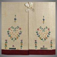 Vintage Linen Guest Towel Set - Embroidered Heart - Original Labels and Box