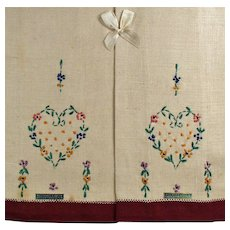 Vintage Linen Guest Towel Set - Embroidered Heart - Original Labels and Box