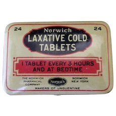 Vintage Laxative Tin – Norwich Laxative Cold Medicine Tablets Tin