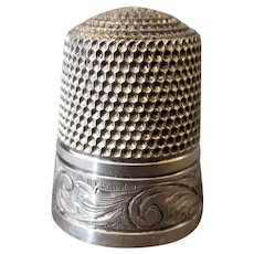 Vintage Sterling Silver Thimble – Hand Tooled Scroll Design - Simons Brothers Size 11