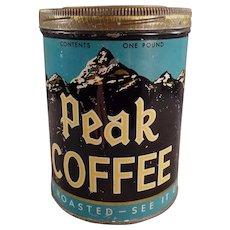 Vintage Screw Lid Coffee Tin - Independent Grocers Alliance Peak Brand Coffee