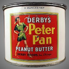 Vintage Derby Foods Peter Pan Peanut Butter Tin with Advertising Pry Key