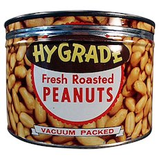 Vintage Keywind Hy-Grade Peanuts - 1950's - Old Advertising Nut Tin