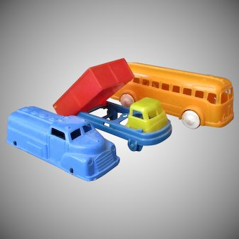 Three Vintage Plastic Toy Vehicles – Bus, Dump Truck and Tanker Truck