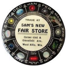 Vintage Celluloid Advertising Mirror with Birthstone Chart – Sam's New Fair Store