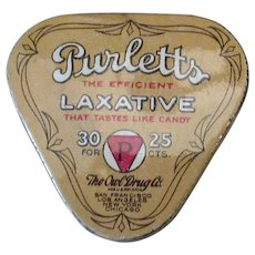 Vintage Purletts Laxative Tin - Early 1900's Owl Drug Co. Medical Tin