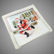 Vintage Christmas Card with Fun Graphics of Santa and Children