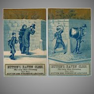 Two Vintage Trade Cards - Button's Raven Gloss - Mischievous Boys in Blue
