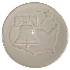 Vintage Frankoma Pottery - 1976 Bicentennial Tribute Christmas Card - White Sand Glaze