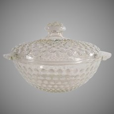 Vintage Opalescent Moonstone Hobnail Candy Dish with Lid