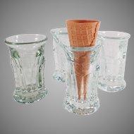 Vintage Ice Cream Cone Soda Fountain Glasses - Set of Four