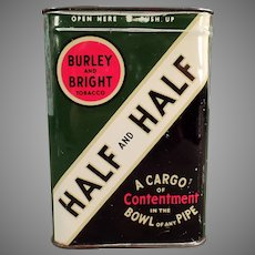 Vintage Burley & Bright and Contentment Half and Half Tobacco Tin