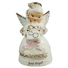 Vintage Napco Birthday Angel - June Angel with Wedding Rings