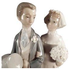 Vintage Lladro Figurine -  #4808 Bride & Groom Wedding Figurine