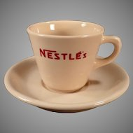 Vintage Nestle's Hot Chocolate Cup and Saucer Restaurant China - Cocoa Advertising