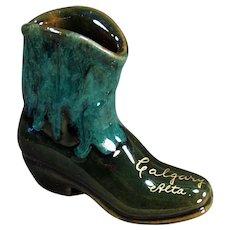 Vintage Pottery Boot - Calgary Canada Souvenir - Pretty Glaze