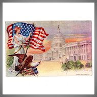 Vintage Patriotic Postcard Perhaps for Fourth of July