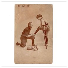 Vintage Photograph Postcard with Cute Baseball Theme – Tie Game
