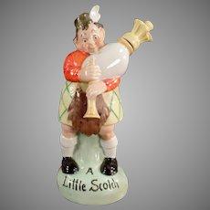 Vintage S&V  Scottish Bagpipe Player Flask with Original Stopper - Schafer & Vater