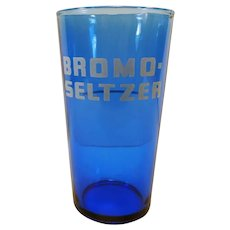 Vintage Cobalt Blue Bromo-Seltzer Advertising Glass with Measuring Line