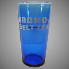 Vintage Cobalt Blue Bromo-Seltzer Advertising Glass with Measuring Line