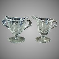 Vintage Heisey Glassware Orchid Etch on Waverly Pattern - Individual Cream & Sugar Set