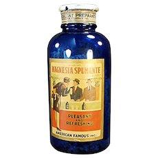 Vintage Cobalt Blue Glass Bottle with Paper Magnesia Spumante Label - Spokane  Washington